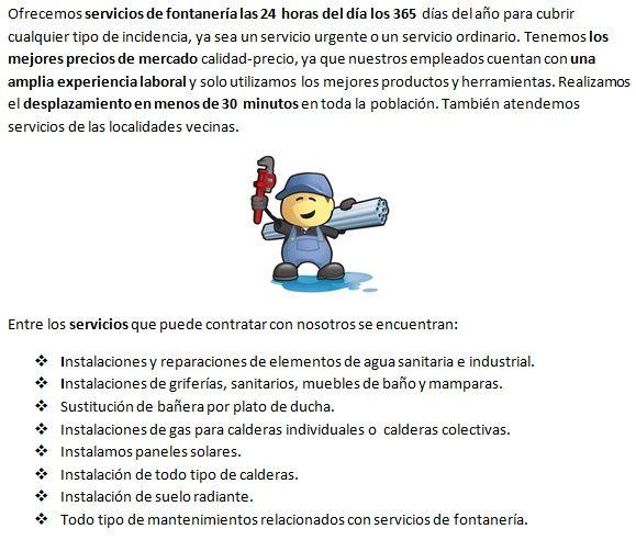 Servicios de fontanería de fontaneros en Vargas 365 días económicos